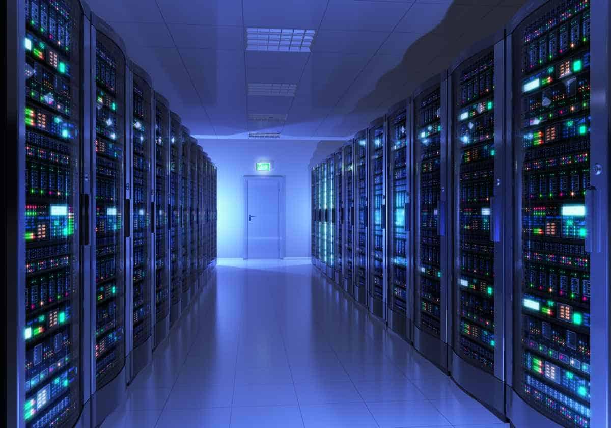 metal racks in server room