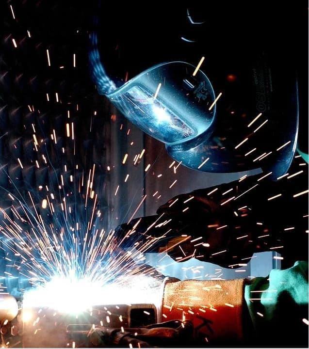 Man in welding gear